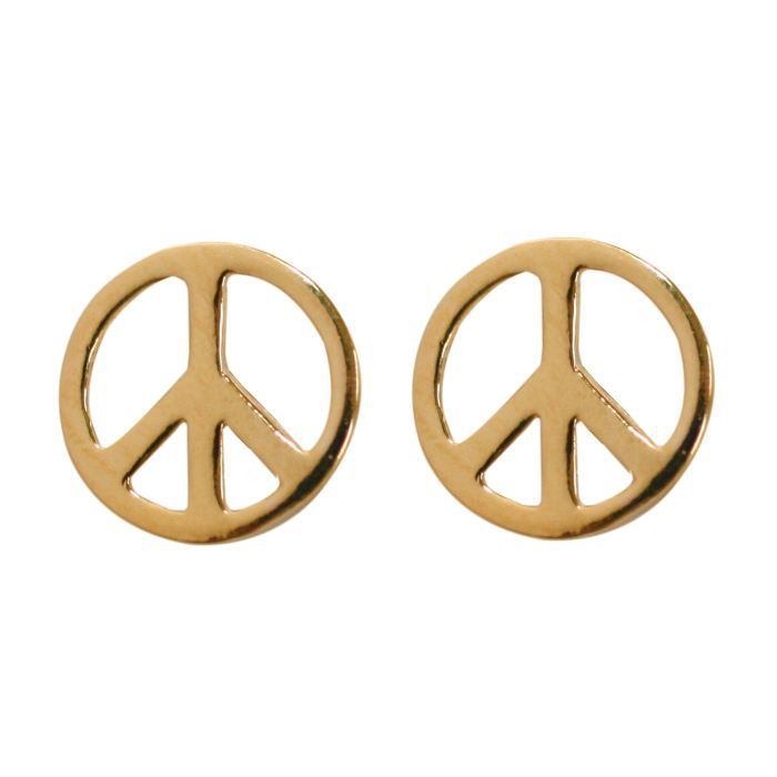 Boucles d 39 oreilles peace and love plaqu or achat - Boucle d oreille peace and love ...