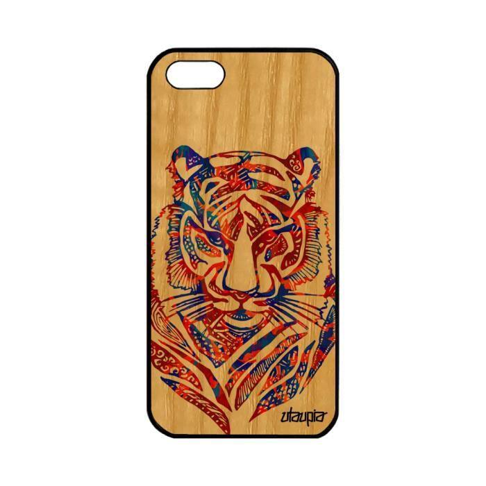 coque iphone 5 5s se en bois silicone tigre garcon