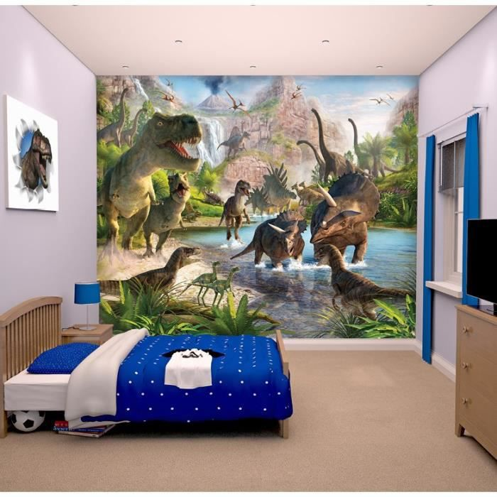 papier peint enfant fresque murale d corative monde des dinosaures achat vente stickers. Black Bedroom Furniture Sets. Home Design Ideas