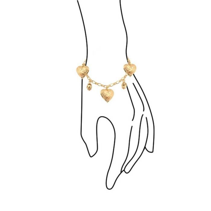 Womens Message Love Heart Charm Bracelet Gold Filled 7.5 Inch MHIM1