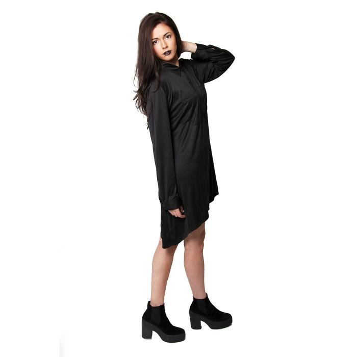 Womens Black Designer Long Sleeve Shirt Dress In Sizes 6 To 16 Uk 2NHZF9 Taille-34