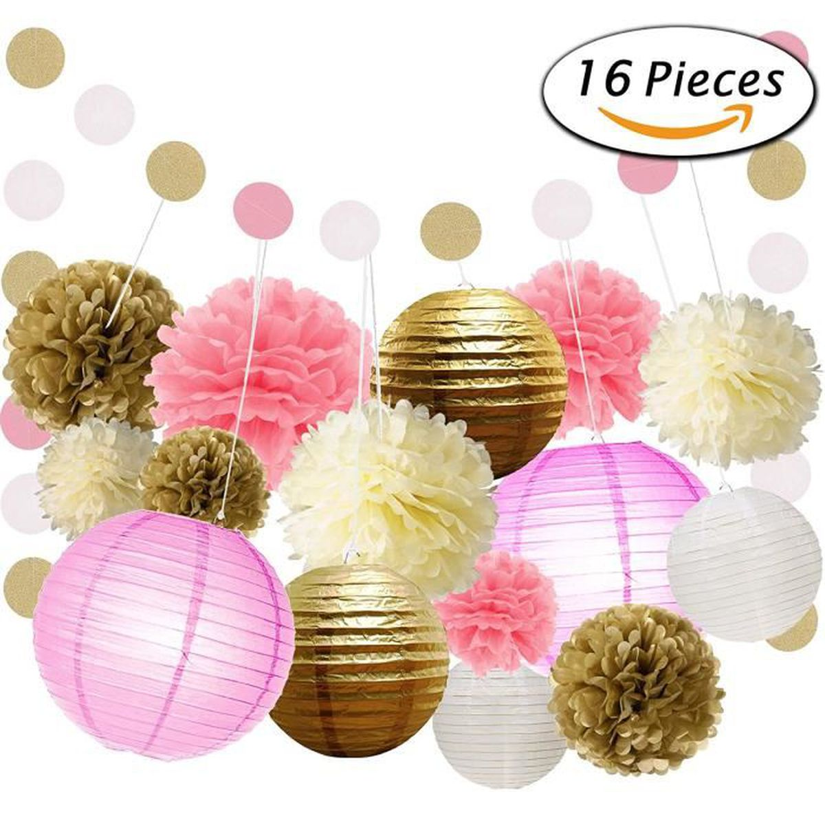 kit 16pcs guirlande d coration papier mariage anniversaire fleurs pompons papier de soie boule. Black Bedroom Furniture Sets. Home Design Ideas