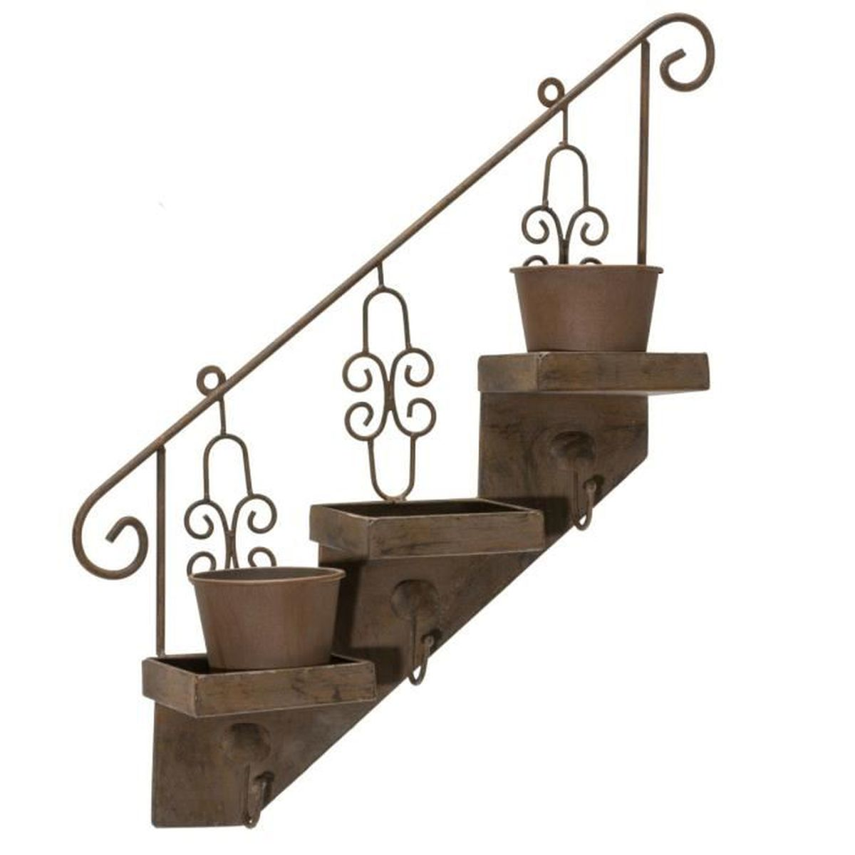 pureday support pour pot de fleurs mural en forme d 39 escalier avec 3 pots m tal aspect ancien. Black Bedroom Furniture Sets. Home Design Ideas