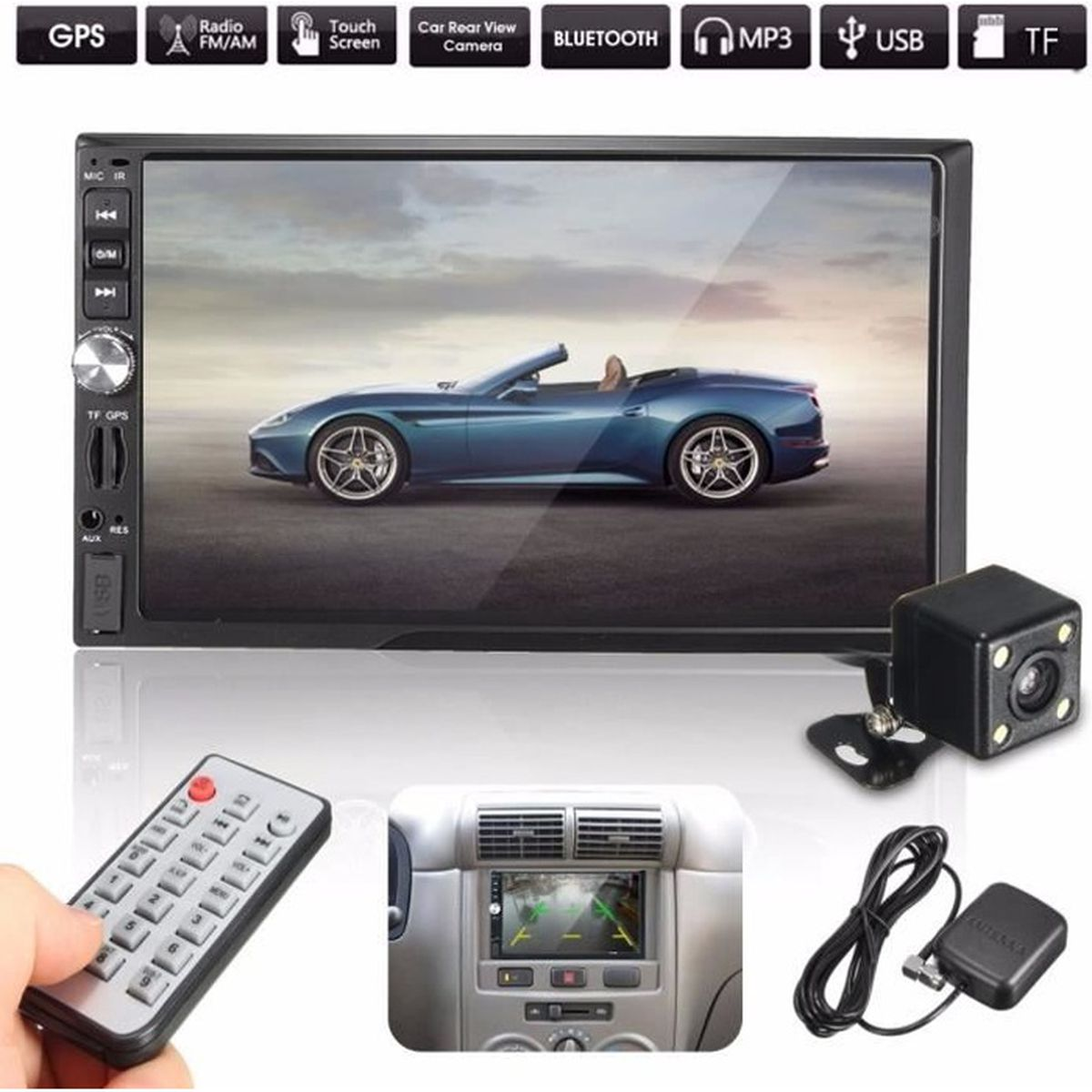 tempsa 7 bluetooth 2 din autoradio gps mp5 fm usb tf in dash cam ra de recul voiture achat. Black Bedroom Furniture Sets. Home Design Ideas