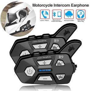 INTERCOM MOTO 2PCS Nouveau Casque Moto Écouteurs R9 1500M Blueto