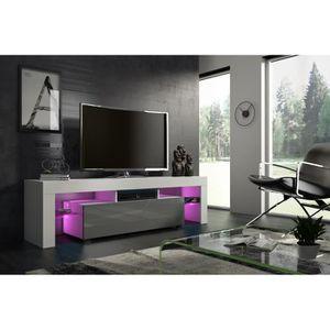 MEUBLE TV Meuble tv 160 cm blanc mat et gris laqué led RGB