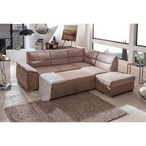 Canap d 39 angle convertible beige tissu gonzo angle droit achat vente - Canape d angle tissu beige ...
