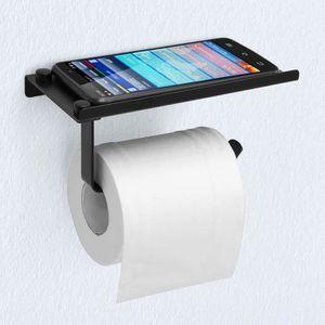 EXLECO Porte-papier Toilette 14,5cm Support de Papier Toilette Noir Mural Acier Inoxydable 304 Finition Bross/ée Porte-papier Hygi/énique pour Salle de Bain et Cuisine