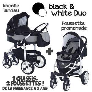 POUSSETTE  Poussette Combinée Duo 2 en 1 B&W Noir - Gris grap