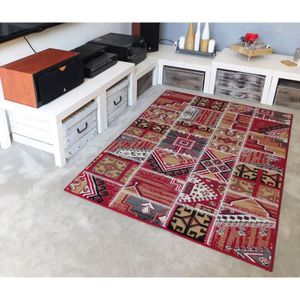 Tapis Patchwork Marron, Rouge, Orange, Beige & Crème 120 cm ...