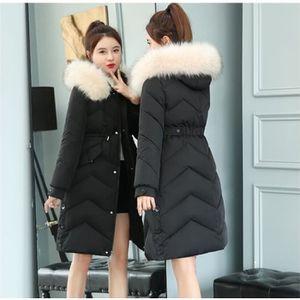 Femme Longue Doudoune Slim Grande Taille Manteaux d'hiver Col de Fourrure Manteau Avec Capuche Parka Épaissir Garder au Chaud Noir