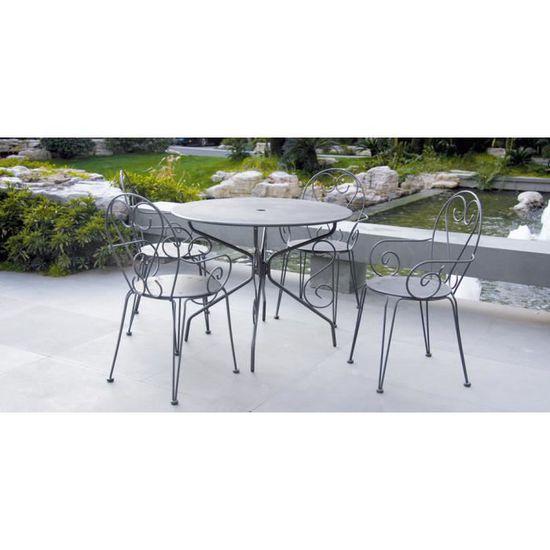 Salon de jardin métal gris