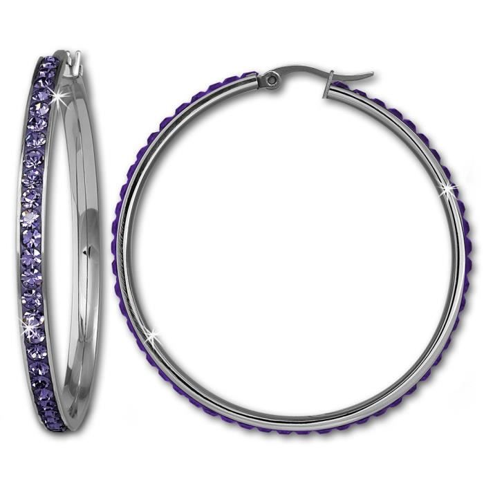 Amello bijoux en acier inoxydable-boucle d'oreille créoles avec cristaux de Swarovski Elements de couleur violette ronde diamètre