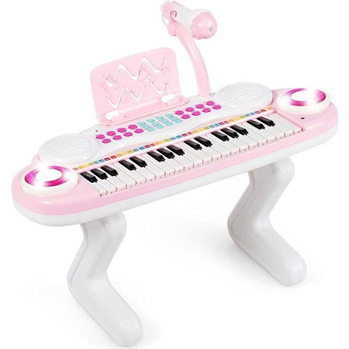 COSTWAY Clavier de Piano Electronique à 37 Touches pour Enfants Jouet Piano Educatif Portable avec Lumière Rythmique Rose