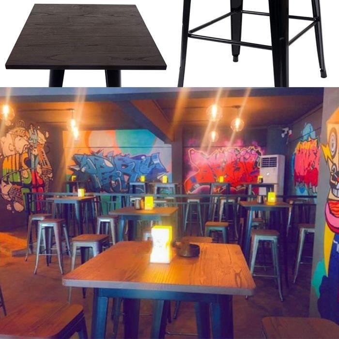 FIRNOSE Table de Bistro Table Haute de Bar Table à manger - Style industriel - Intérieur et Extérieur 60x 60 x 92 cm Noir/Marron