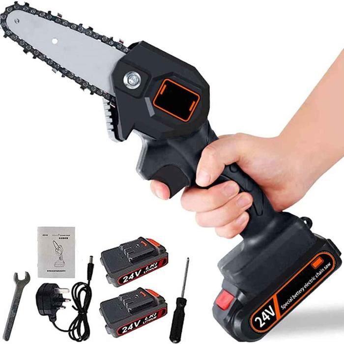 Mini tronçonneuse portative électrique sans fil rechargeable de 4 pouces 24 V, vitesse coupe réglable,pour la coupe du bois et métal