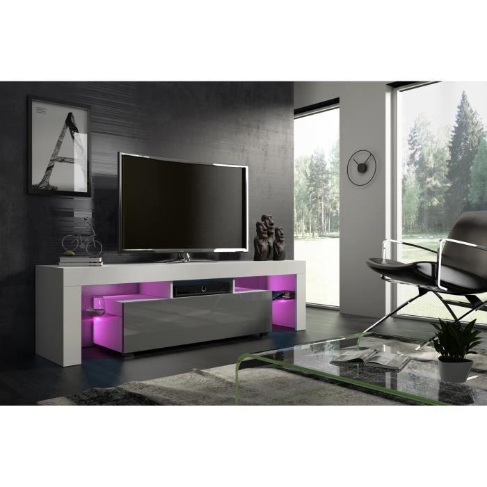 Meuble tv 160 cm blanc mat et gris laqué led RGB