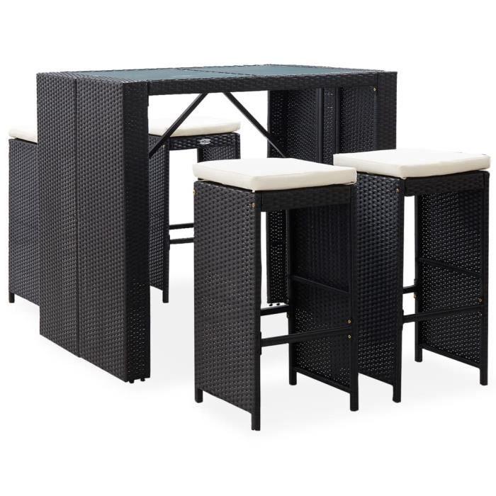 Mobilier de bar d'extérieur 5 pcs - Ensemble Table de bar + 4 tabourets bar Mange-Debout Résine tressée et verre Noir