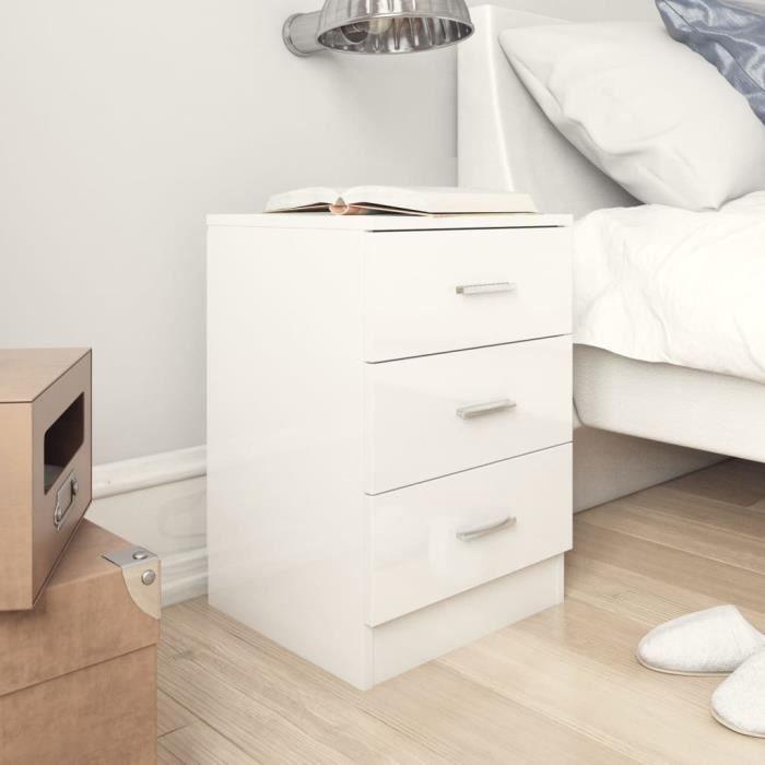 Table de chevet Blanc brillant 38x35x65 cm Aggloméré