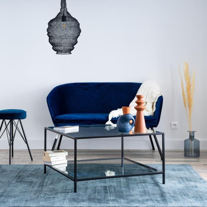 Table basse Carrée Verre Métal Noir Moderne Design 80x80x42cm