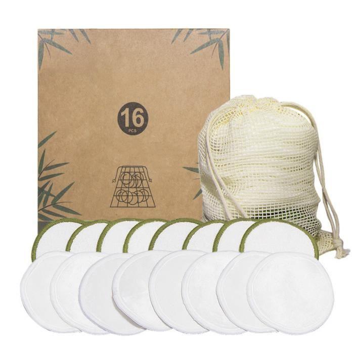 Tampons Démaquillants Fibre De Bambou, Disques Coton Demaquillant Lavable, Sac De Lavage, Lavable Et Réutilisable -16Pcs Multicolore