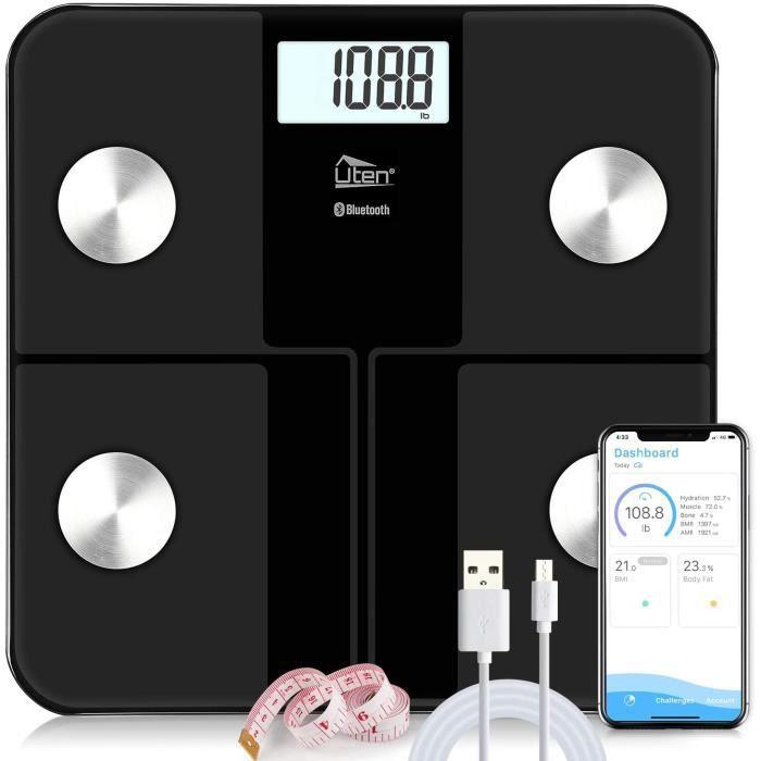 Pèse Personne Impédancemètre Balance Pèse Personne Électronique Numérique Balance Connecté Bluetooth avec 8 Données Corporelles (BMI