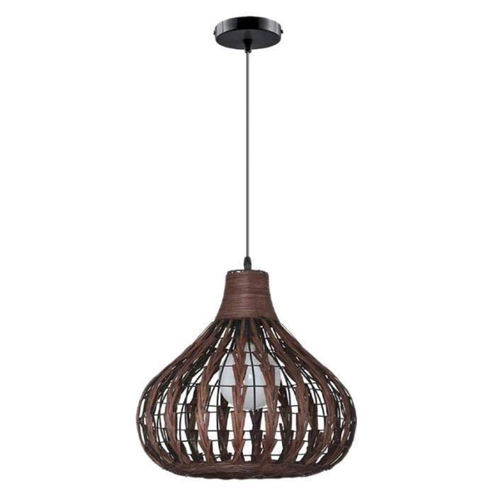 Lustre en Bambou Naturel Bricolage en Osier Rotin Abat-Jour Tissage LumièRe Suspendue Ne Contient Pas D'Ampoules