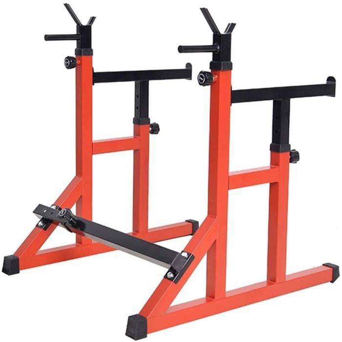 BANC DE MUSCULATION Bancs de Musculation Rack Squat Commercial Multifonctionnel Halt&eacuterophilie Lit Rouge Squat Bench Pre542