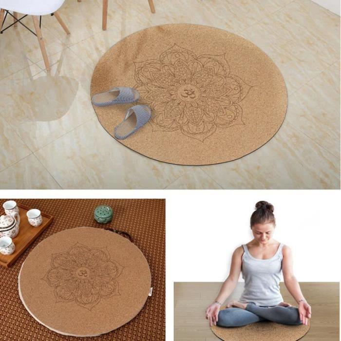 Tapis de sol,Tapis de Yoga rond en caoutchouc de liège, antidérapant, coussin de méditation, Pilates, pour la maison et l'extérieur