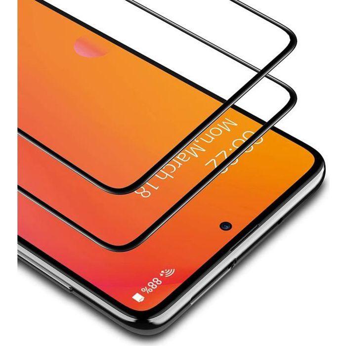 Verre Trempé Xiaomi Redmi Note 10, 2 Pièces Cadre Noir Protection d'écran Film Accessoires Anti-empreinte Digitale