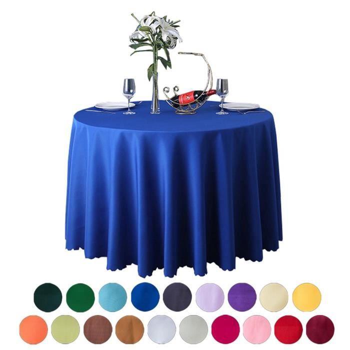 BIGOOD Ronde Nappe Bord en Vagues Couverture de Table Couleur Uni Décoration Bleu Roi 1.8M