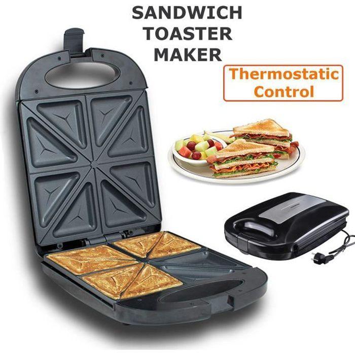 Appareil à Croque Monsieur 1200W, Machine à Sandwich Toaster Maker 4 Tranches, Plaques Antiadhésives, Double Face Uniforme, Noir