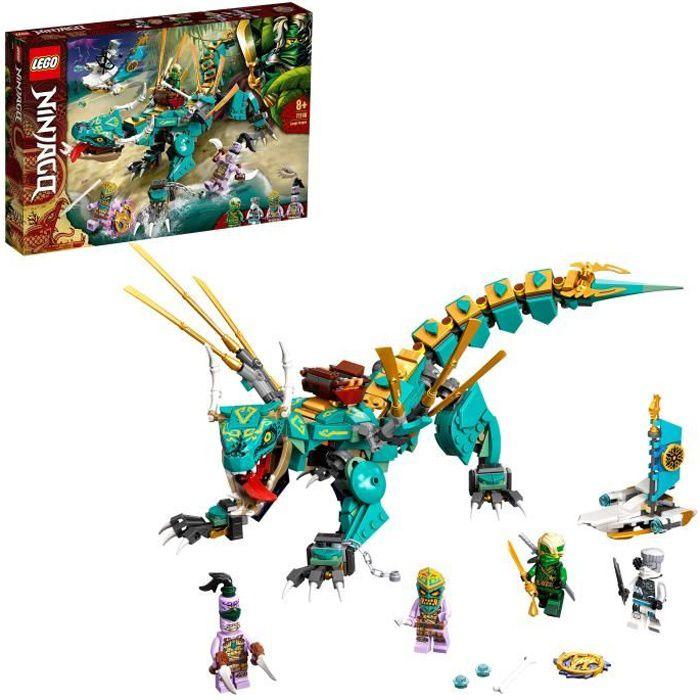LEGO® 71746 NINJAGO® Le Dragon de la Jungle Jeu de Construction avec Les Minifigurines Ninja Lloyd et Zane, Enfant de 8 Ans et +