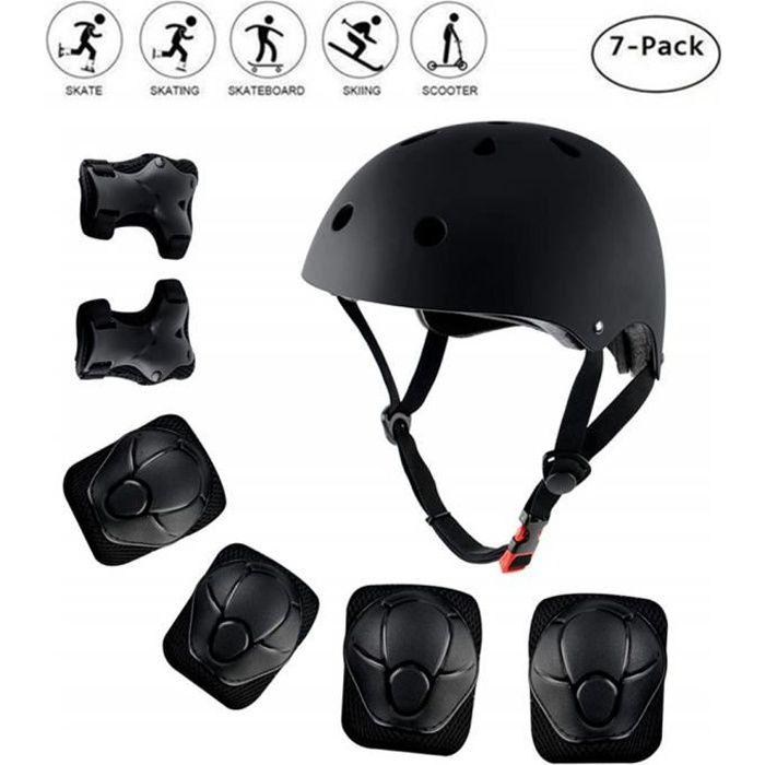 Casque de Vélo Unisexe de Réglable 7-in-1de Protection pour Roller Patins Planche roulettes Cyclisme