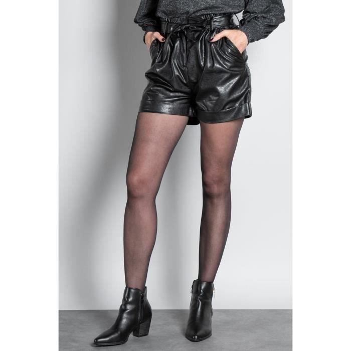 DEELUXE Short en simili cuir ZOE Black