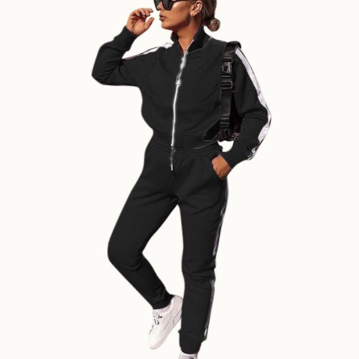 2PCS Ensemble de vêtements pour femmes Tenues de Dames Hauts Pantalons + Casual chemise à manches longues Loungewear Noir
