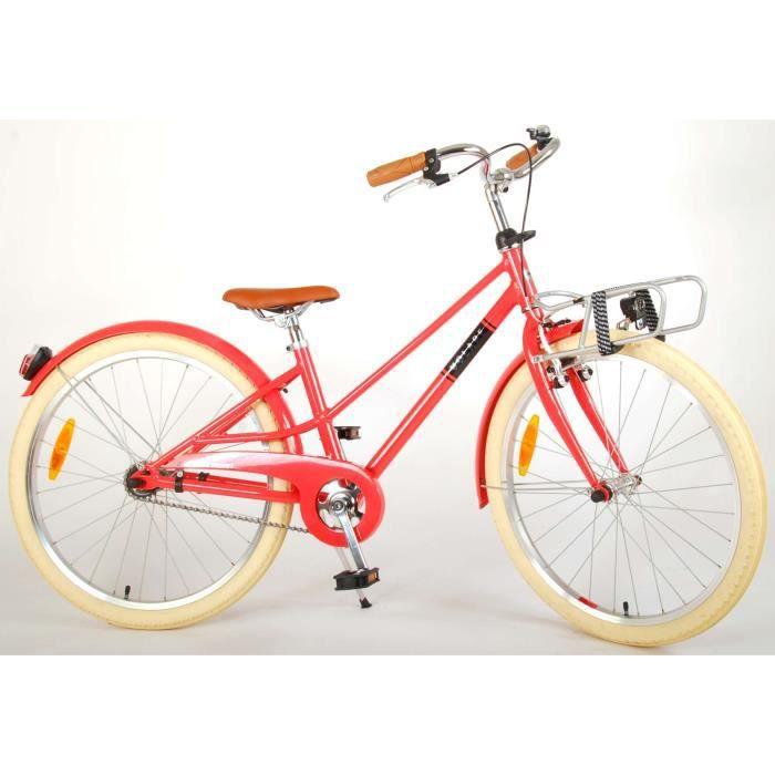Vélo pour Enfants Volare Melody - Filles - 24 Pouces - Rouge Pastel - Prime Collection
