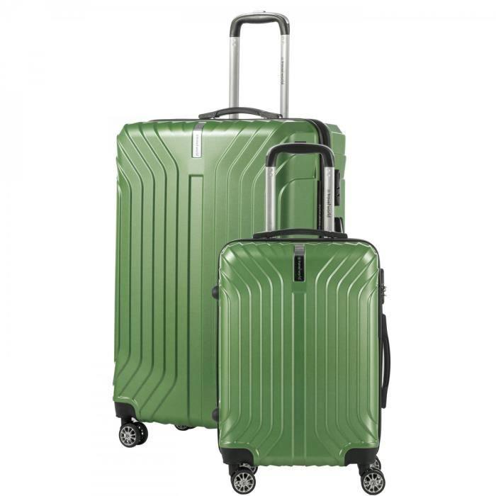 Set de 2 valises, 1 bagage cabine 55 cm et 1 bagage grande taille 65 cm,ABS,Vert,BAGAGE RIGIDE,TW00350/2SAP Vert