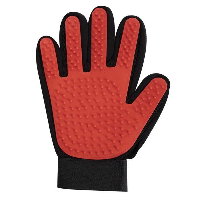 Gant de brossage pour animaux de compagnie récupérateur de poils Rouge