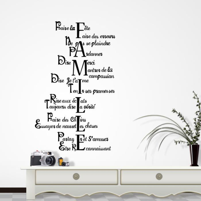 Sticker Mural Citation Famille Amour Vie Pour Hall Salon Grande