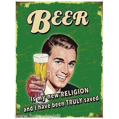 plaque tole publicitaire beer new religion biere style annee 50 affiche uk80137 achat vente. Black Bedroom Furniture Sets. Home Design Ideas