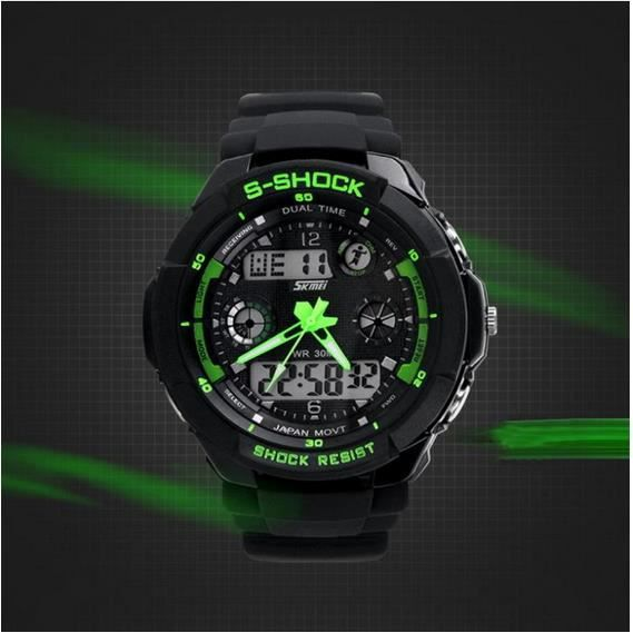 montre sport homme verte digitale led chrono vert sport achat vente montre cdiscount. Black Bedroom Furniture Sets. Home Design Ideas