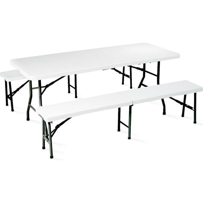 ensemble table et bancs pliants camping 180 cm achat. Black Bedroom Furniture Sets. Home Design Ideas