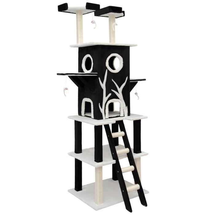 arbre chat en peluche sisal noir 215 cm achat vente arbre chat arbre chat en peluche. Black Bedroom Furniture Sets. Home Design Ideas