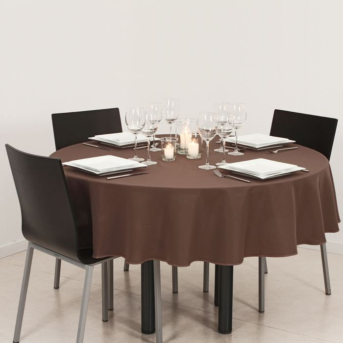 nappe ronde anti taches marron achat vente nappe de table cdiscount. Black Bedroom Furniture Sets. Home Design Ideas