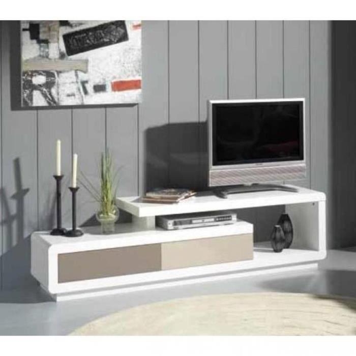 meuble tv seville blanc 2 tiroirs gris et taupe achat vente meuble tv meuble tv seville. Black Bedroom Furniture Sets. Home Design Ideas