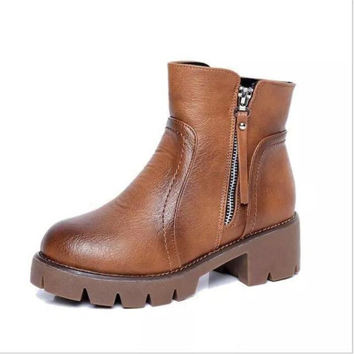 Femmes talon cuir Automne en bottes Bottines Hiver épais FXG XZ019Marron40 n0wOPk8