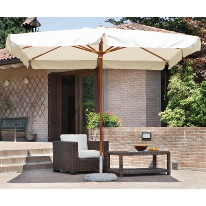 parasol centr rectangulaire 3 x 4 m coloris bois teck polyester 230 gr achat vente parasol. Black Bedroom Furniture Sets. Home Design Ideas