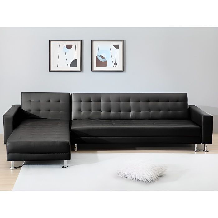 canap d 39 angle convertible et r versible en sim achat vente canap sofa divan cdiscount. Black Bedroom Furniture Sets. Home Design Ideas