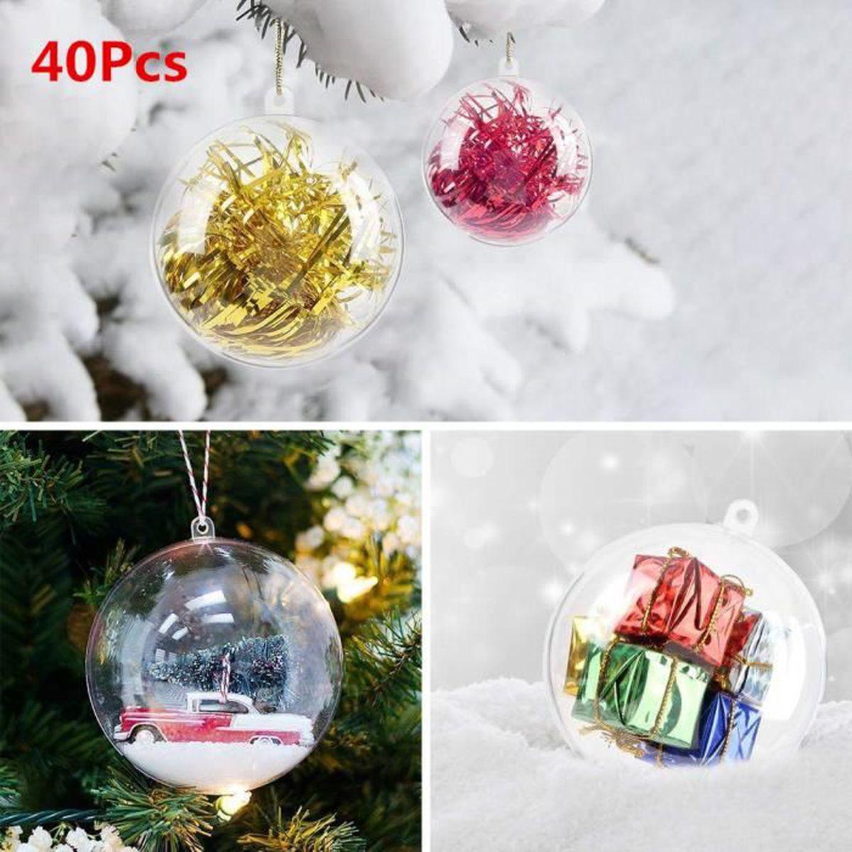 Personnaliser Une Boule De Noel Transparente lot de 40pcs boules de noël transparente à remplir 8cm en